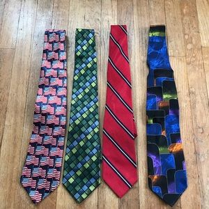 Lot of 4 Patterned Ties